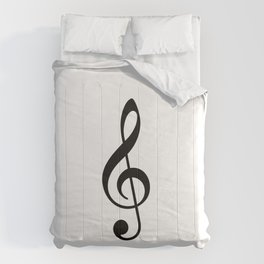 White and Black - Treble Clef Comforters