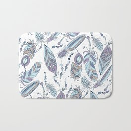 Tribal Feathers with Beads Bath Mat