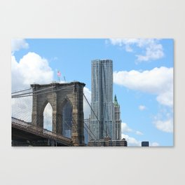Manhattan Bridge and New York by Frank Gehry Canvas Print