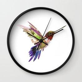 Hummingbird artwork, flying hummingbird Wall Clock
