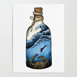 Deep blue bottle Poster