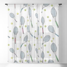 Tennis pattern. Hand-drawn colored sketch style tennis racquet with yellow tennis balls on white bac Sheer Curtain