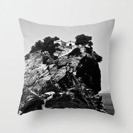 Church on a Hill (Black & White) Throw Pillow