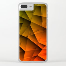 Tinted contrasting red fragments of green crystals on irregularly shaped triangles. Clear iPhone Case