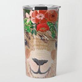 Llama with Flower Crown by Mia Charro Travel Mug