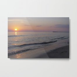 Sunset Beach Waves Metal Print