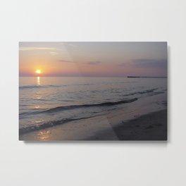 Sunset Beach Waves Metal Print