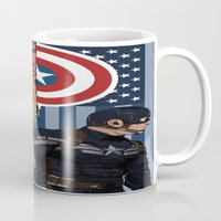 winter soldier Mugs featuring Winter Soldier by Evan Tapper