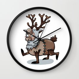 Furry Friends in a Cute Fluffy Reindeer Onesie Wall Clock