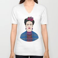 frida kahlo V-neck T-shirts featuring Frida Kahlo by Bianca Green