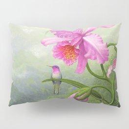 Hummingbird Perched On The Orchid Plant - Martin Johnson Heade Pillow Sham