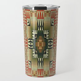 Orange Red Olive Green Native American Indian Mosaic Pattern Travel Mug