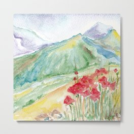 Mountain flowers. Abstract watercolor landscape Metal Print