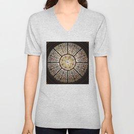 Stained glass window glass ceiling Unisex V-Neck