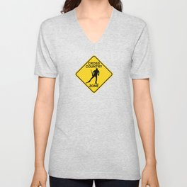 Cross Country Skiing Zone Road Sign Unisex V-Neck