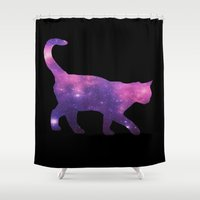 space cat Shower Curtains featuring SPACE CAT by Caio Trindade