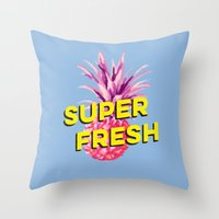 pinapple Throw Pillows featuring Super Fresh by Galaxy Eyes