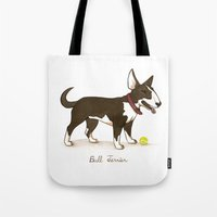 bull terrier Tote Bags featuring Bull Terrier by Monica McClain