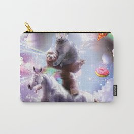 Laser Eyes Space Cat On Sloth Unicorn - Rainbow Carry-All Pouch