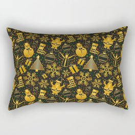 Golden Christmas Rectangular Pillow