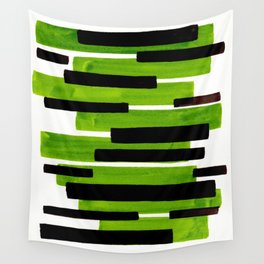 Lime Green Primitive Stripes Mid Century Modern Minimalist Watercolor Gouache Painting Colorful Stri Wall Tapestry