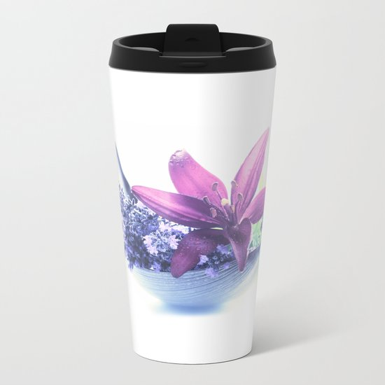 Summer flower pattern lilies and lavender Metal Travel Mug