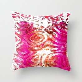 Pink, gold and red ghost print Throw Pillow