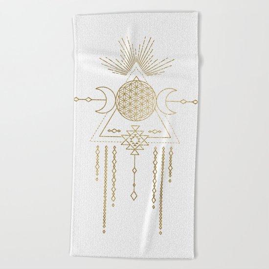 Golden Goddess Mandala Beach Towel