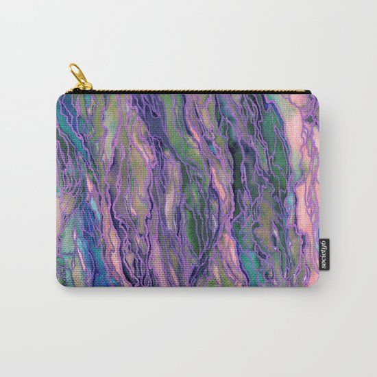 MARBLE IDEA! LAVENDER PINK PEACH Abstract Watercolor Painting Colorful Geological Nature Marbled Art Carry-All Pouch