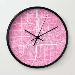 Atlanta map pink Wall Clock