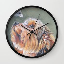 A realistic Yorkshire Terrier Portrait by L.A.Shepard fine art painting Wall Clock