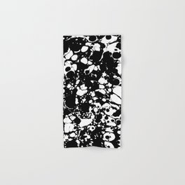Black and white contrast ink spilled paint mess Hand & Bath Towel