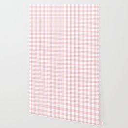 Large Valentine Soft Blush Pink and White Buffalo Check Plaid Wallpaper