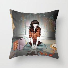 Zooey Deschanel Night Throw Pillow