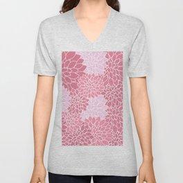 Bubblegum Pink Dahlias Unisex V-Neck