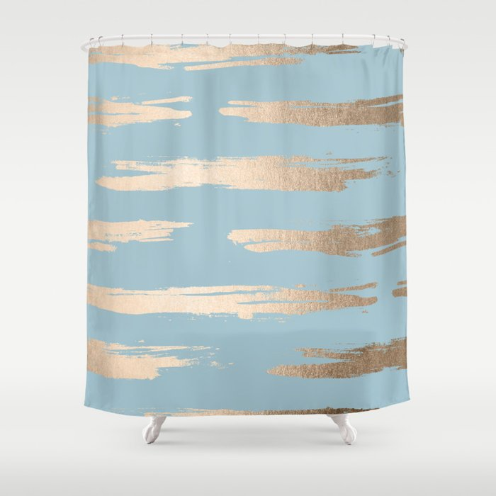 Abstract Paint Stripes Gold Tropical Ocean Sea Blue Shower Curtain