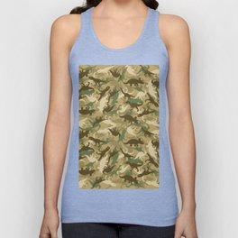 Camouflage Dinosaur Print Olive Green Khaki Tan Unisex Tank Top