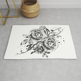 Summer time abstract black flowers. Nature theme. Abstract rose silhouette. Abstract tattoo design Rug