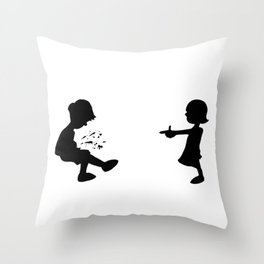 Girl Shoots Boy Throw Pillow