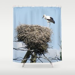 Stork on a Wire Shower Curtain
