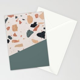 Terrazzo Texture Antique Green #1 Stationery Cards