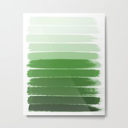 Yote - ombre green brushstrokes abstract minimal canvas painting art decor Metal Print