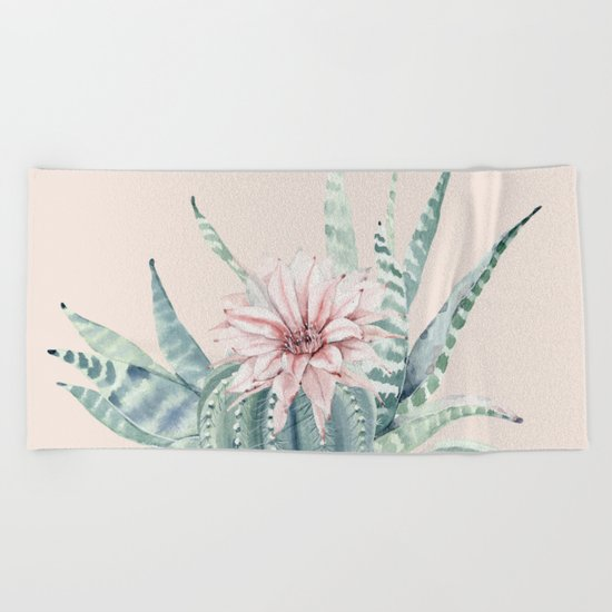 Aloe Cactus Rose Pink Beach Towel