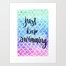 Mermaid, just keep swimming - pastel tones Art Print