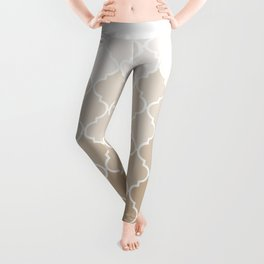 Pastel elegant brown cream quatrefoil pattern Leggings