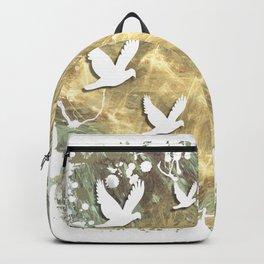 Birds on beige messy kaleidoscope Backpack
