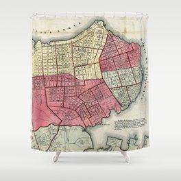 Vintage Map Of Havana Cuba 1866 Shower Curtain