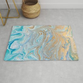 Marble turquoise gold silver Rug