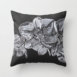 Silver Orchid Throw Pillow