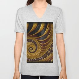 Gold Metallic Swirling Conch Shell Fractal Design Unisex V-Neck
